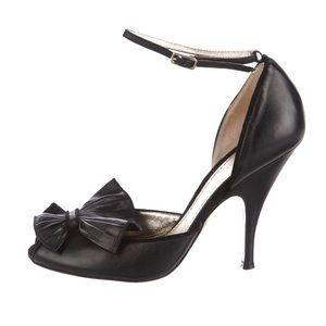 Missoni Black Bow Accent  Ankle Strap Pumps SZ 6.5